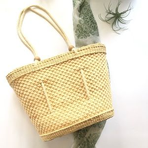 Vtg Straw Tote Bag Woven Purse Handles Tropical